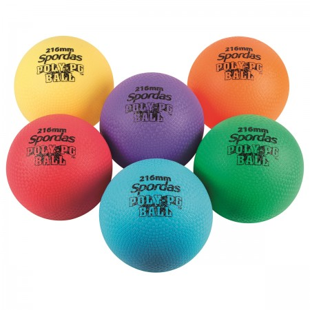 Set of 6 Colored Poly PG Balls