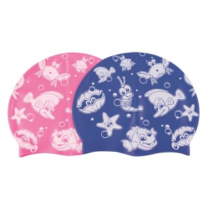 Set of 12 Junior Printed Silicone cap - Blue